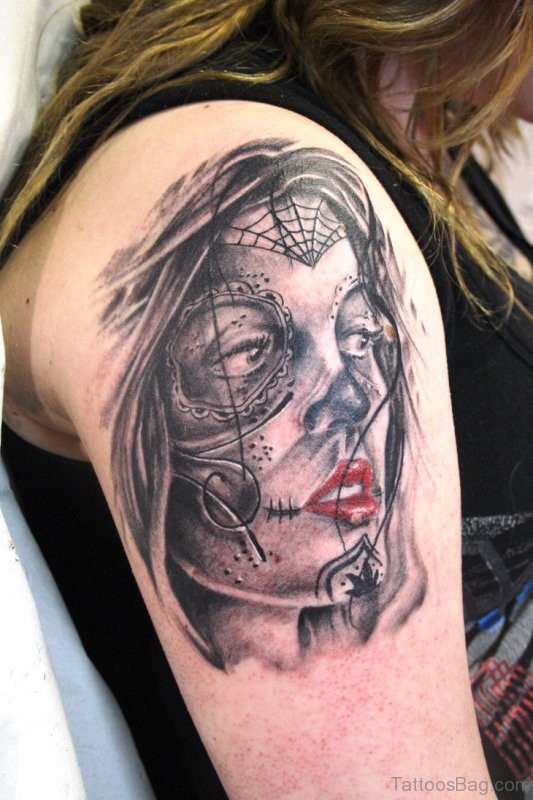 Dead Girl Gypsy Tattoo On Shoulder
