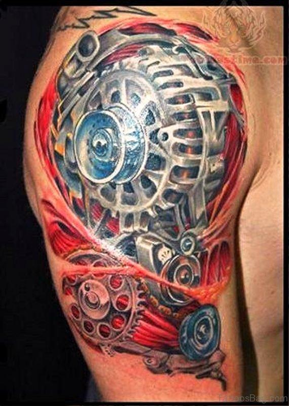 Delightful Anatomical Tattoo On Shoulder