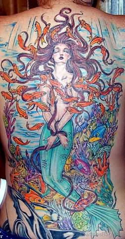 Delightful Mermaid Tattoo On Back