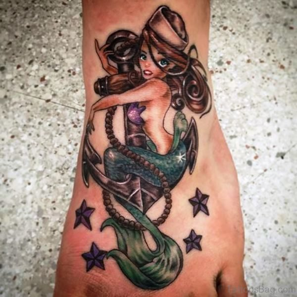 Delightful Mermaid Tattoo On Foot