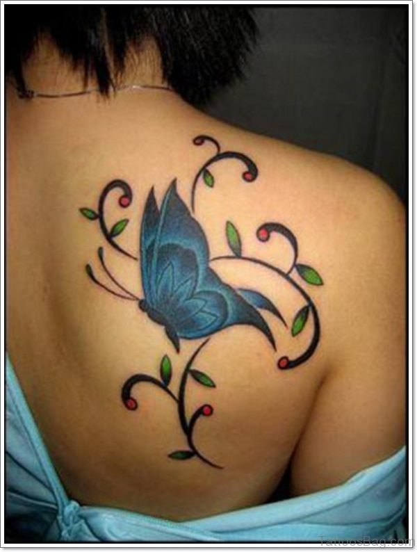 Designer Butterfly And Flower Tattoo