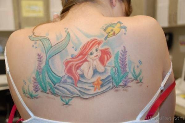 Elegant Mermaid Tattoo On Back
