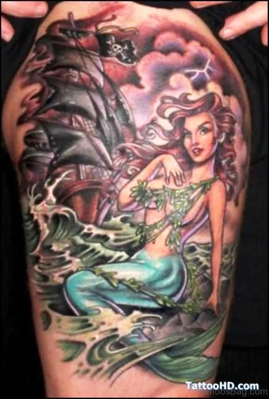 Excellent Mermaid Tattoo On Shoulder