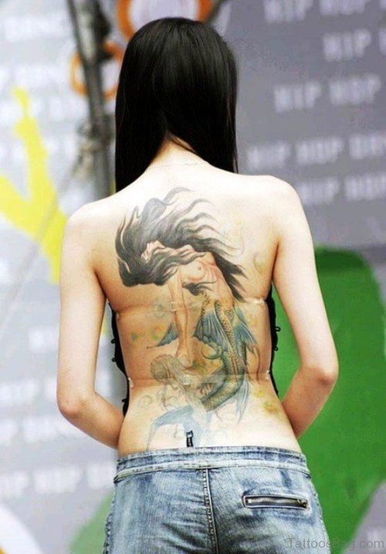 Fabulous Mermaid Tattoo On Back