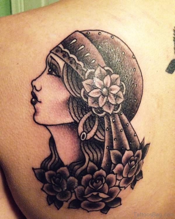 Grey Gypsy With Roses Tattoo