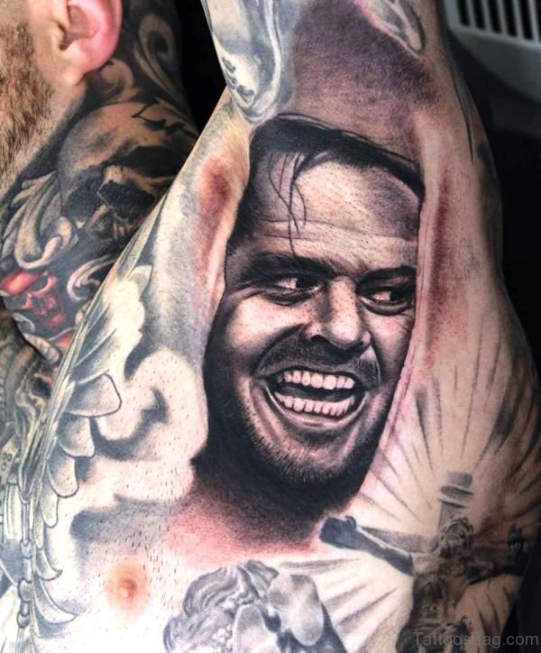 Grey Ink Portrait Tattoo On Armpit