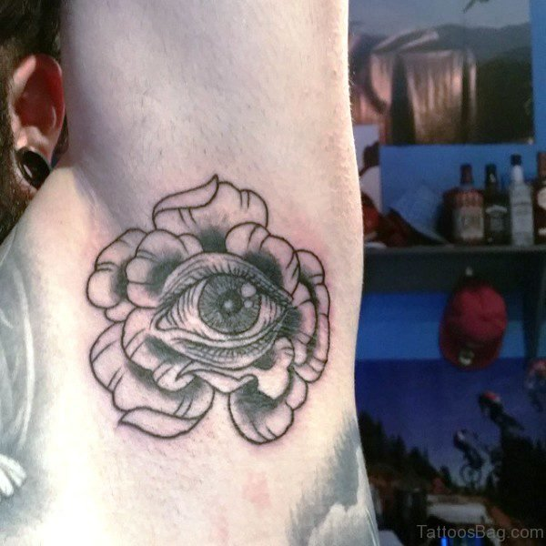 Grey Inked Eye Tattoo On Armpit