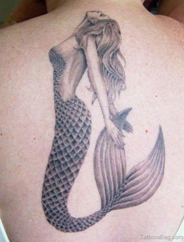 Grey Inked Mermaid Tattoo On Back