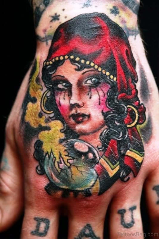 Gypsy Girl Tattoo On Hand