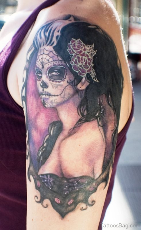 Gypsy Skull Tattoo On Shoulder