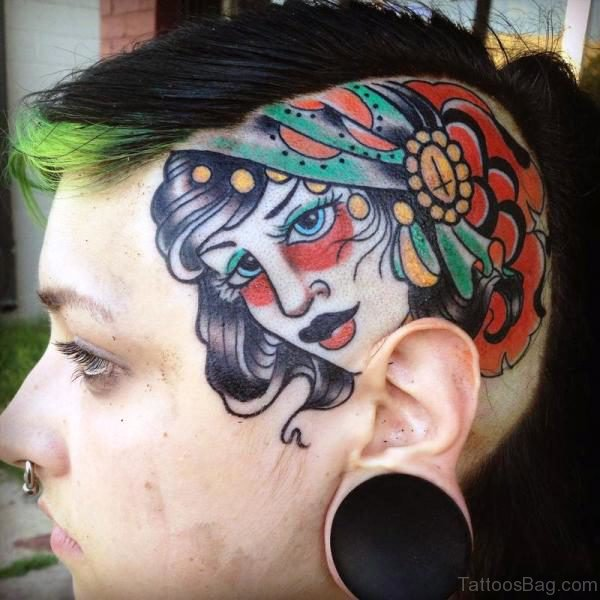 Gypsy Tattoo On Head
