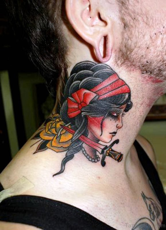 Gypsy Tattoo On Neck