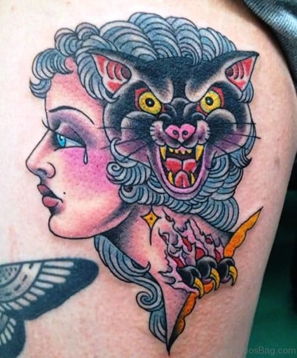Gypsy Tattoo With Angry Cat