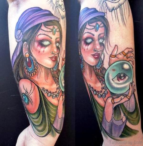 Gypsy With Eye Tattoo Design