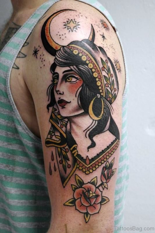 Gypsy With Moon Tattoo On Shoulder