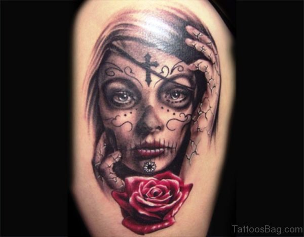 Gypsy With Red Rose Tattoo