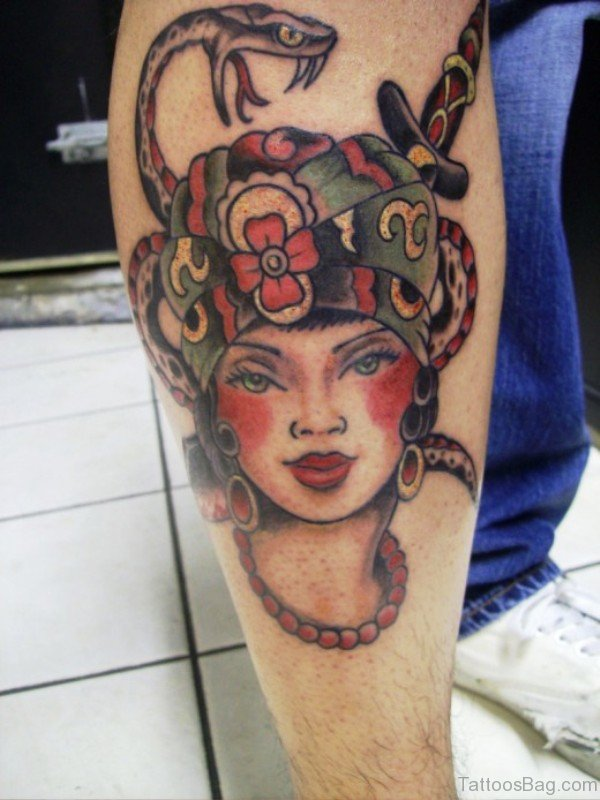 Gypsy With Snake Tattoo Design