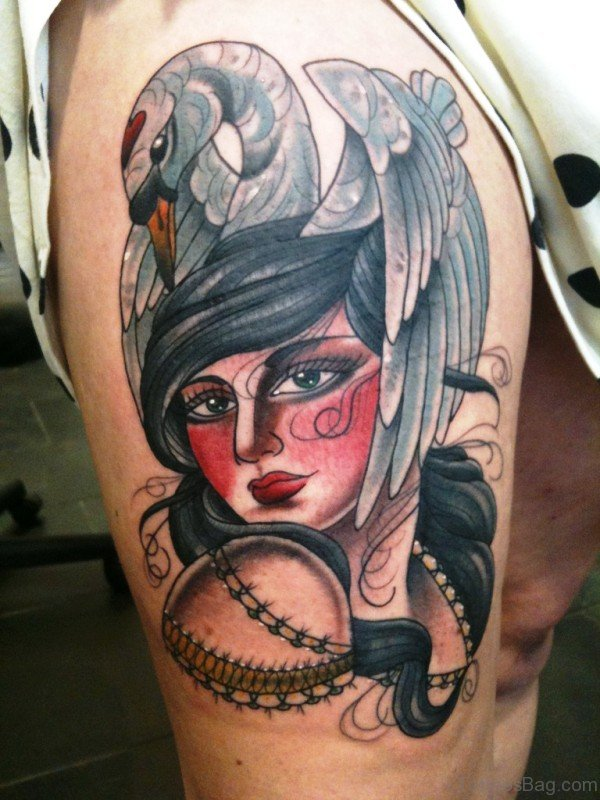 Gypsy With Swan Tattoo