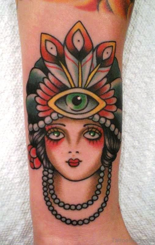 Gypsy With Third Eye Tattoo Design