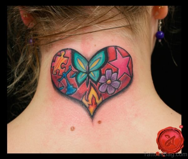 Heart Butterfly And Star Tattoo On Neck Back