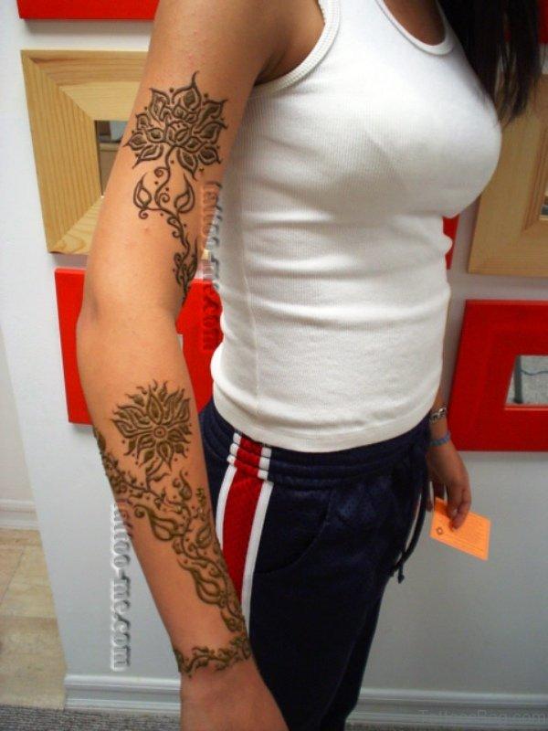 Henna Vine Tattoo On Arm