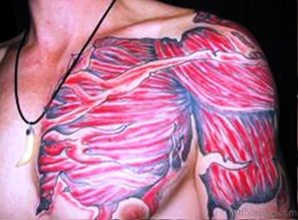 Image Of Anatomical Tattoo On Shoulder