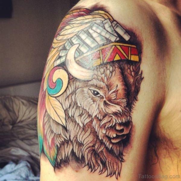 Impressive Buffalo Tattoo On Shoulder