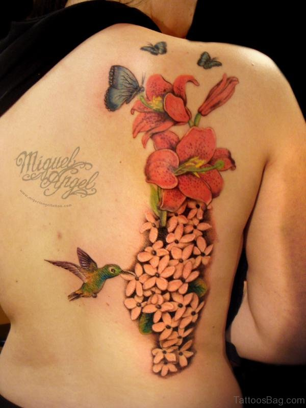 Impressive Butterfly And Flower Tattoo Design