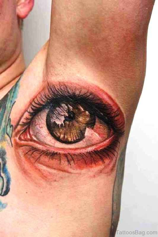 Impressive Eye Tattoo On Armpit