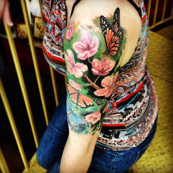 Impressive Flower And Shoulder Tattoo