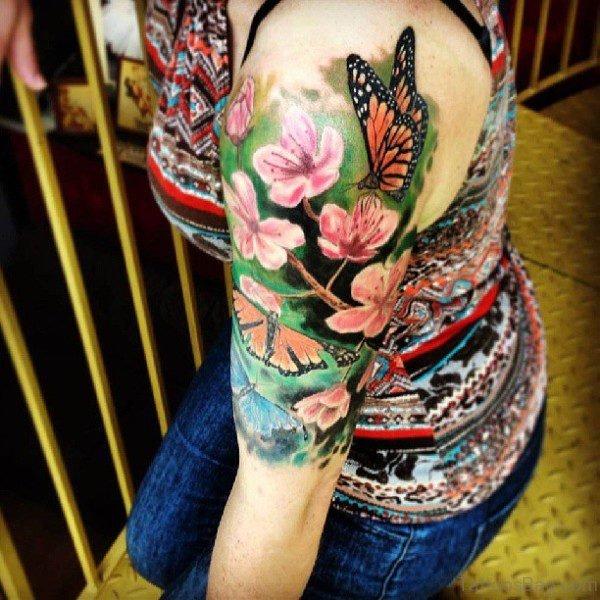Impressive Flower And Shoulder Tattoo