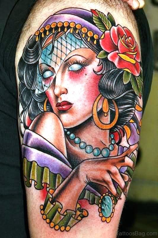 Impressive Gypsy Tattoo On Shoulder