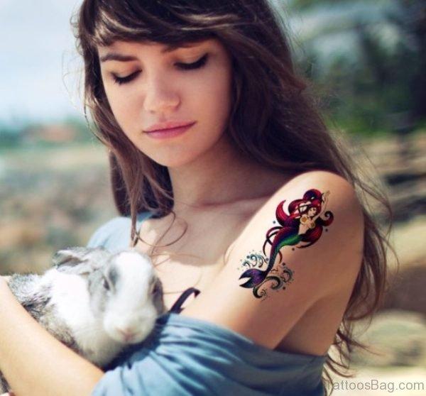 Little Mermaid Tattoo On Shoulder