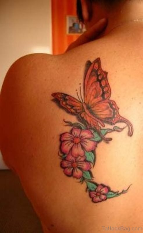 Lovely Butterfly And Flower Tattoo