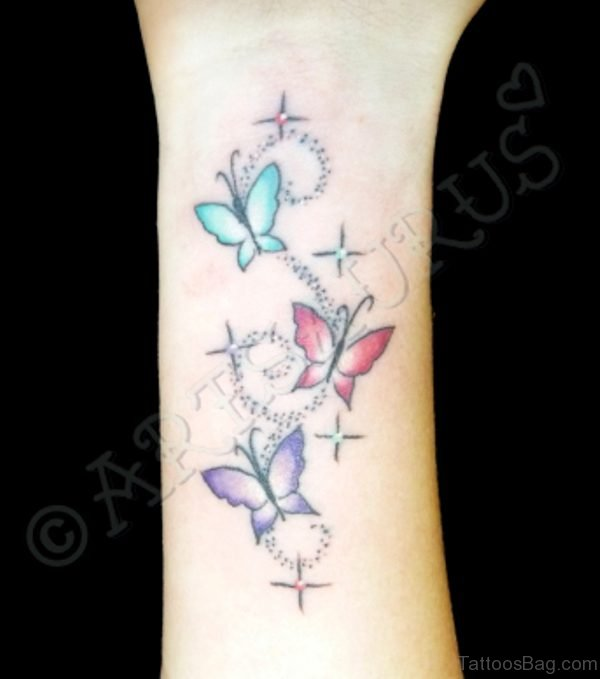 Lovely Butterfly And Star Tattoo On Wrist