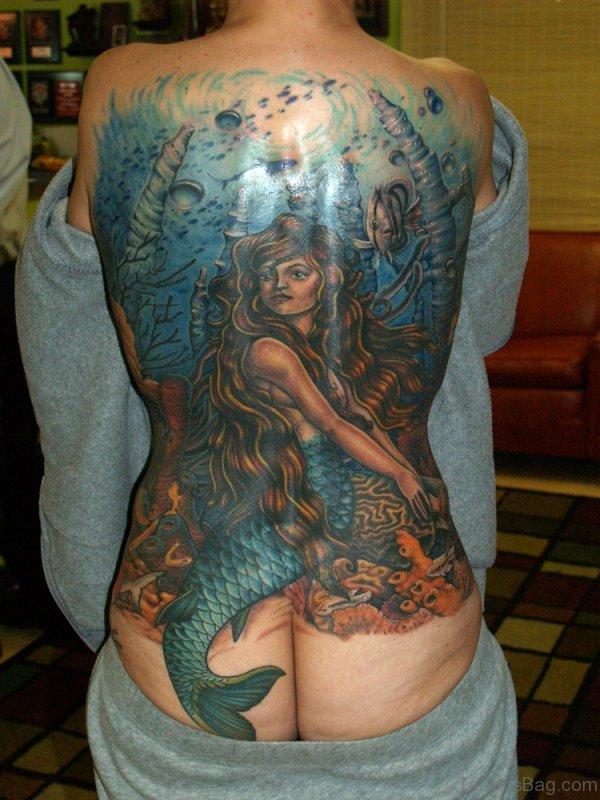 Lovely Mermaid Tattoo On Full Back