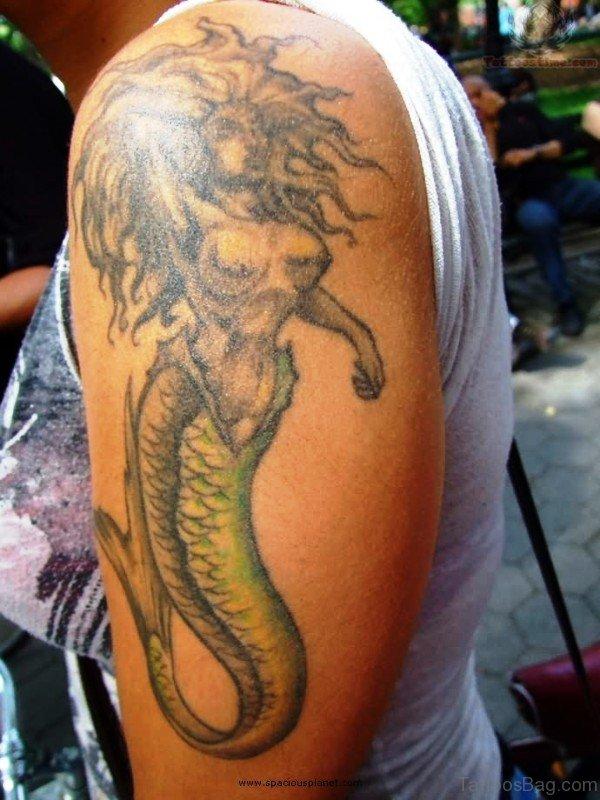 Lovely Mermaid Tattoo On Shoulder