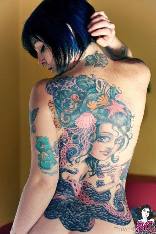 Magnificent Mermaid Tattoo On Back