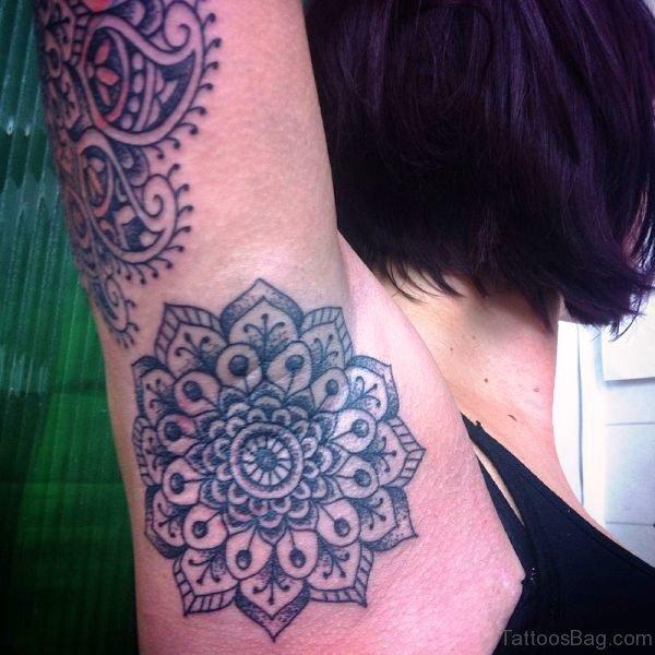 Mandala Flower Tattoo On Armpit
