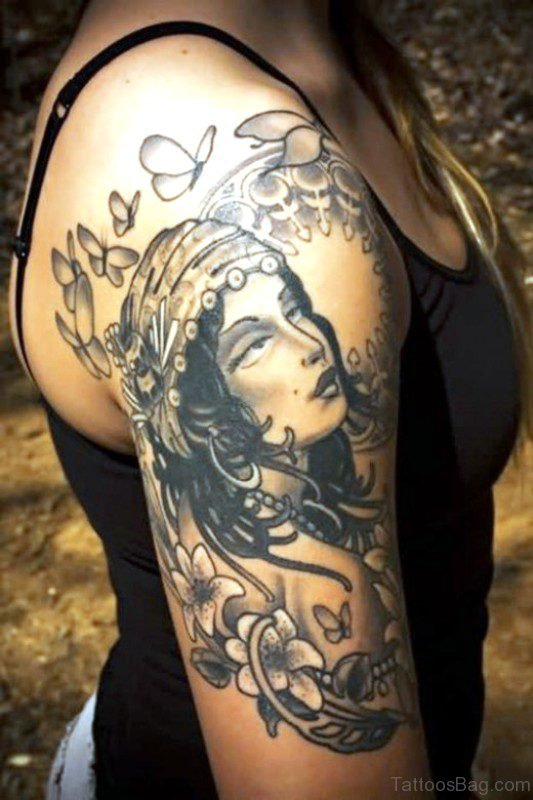 Marvelous Gypsy Tattoo On Shoulder