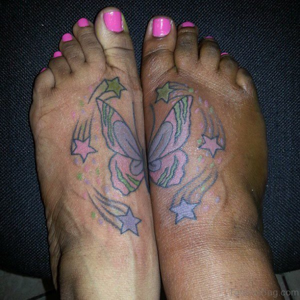 Matching Butterfly And Star Tattoo