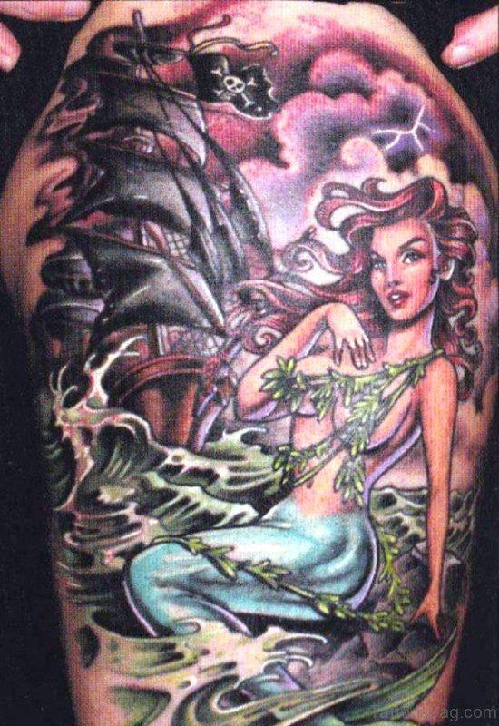 Mermaid And Pirate Ship Tattoo
