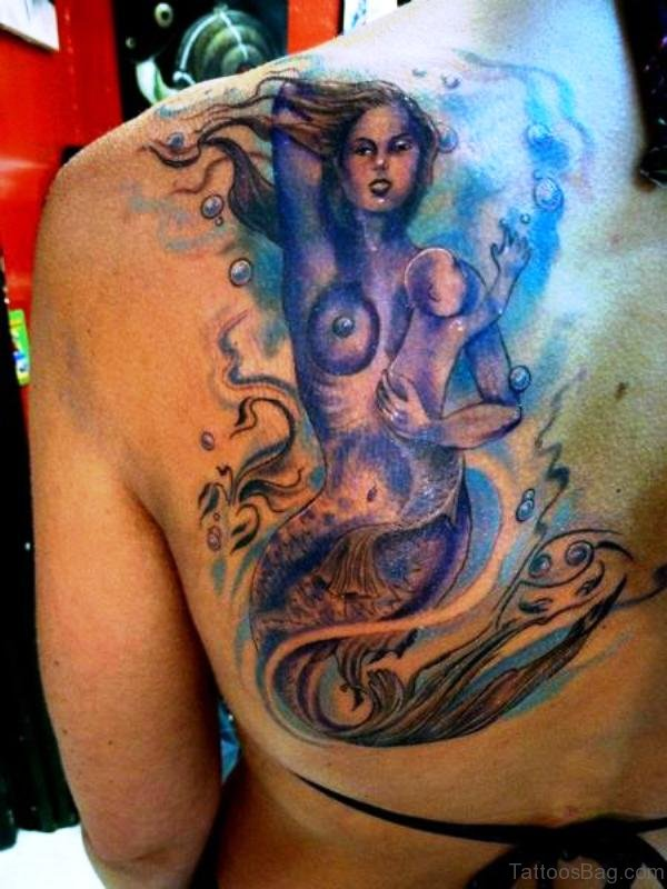 Mermaid Holding Baby Tattoo On Shoulder