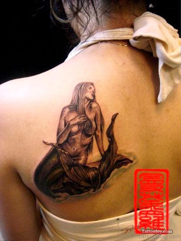 Mermaid Tattoo On Back Shoulder