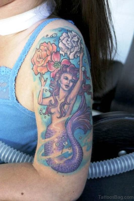 Mermaid With Fowers Tattoo On Shoulder