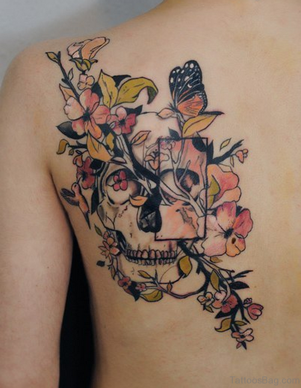 Mind Blowing Butterfly And Flower Tattoo On Shoulder
