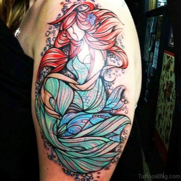 Mind Blowing Mermaid Tattoo On Shoulder