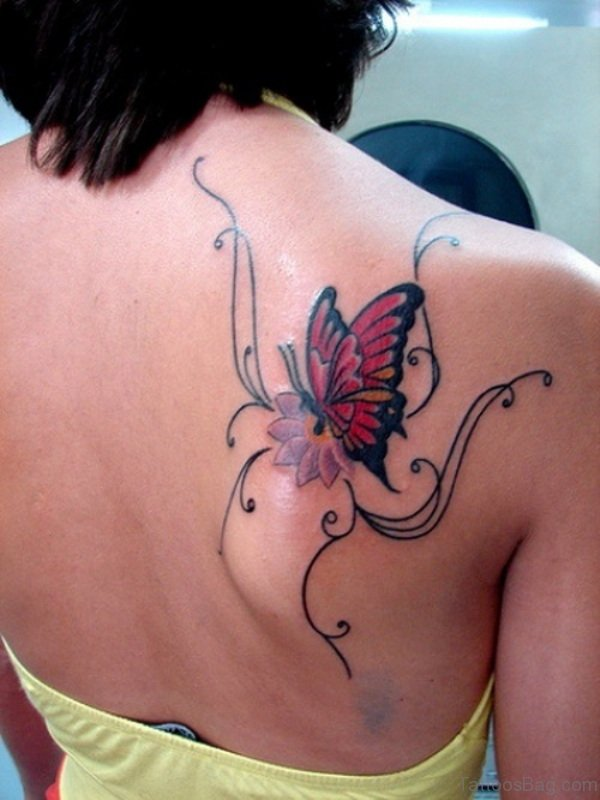 55 beautiful butterfly and flower shoulder tattoos for Shoulder flower tattoos