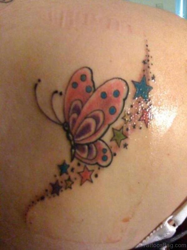17 best butterfly and star tattoo on shoulder. Black Bedroom Furniture Sets. Home Design Ideas