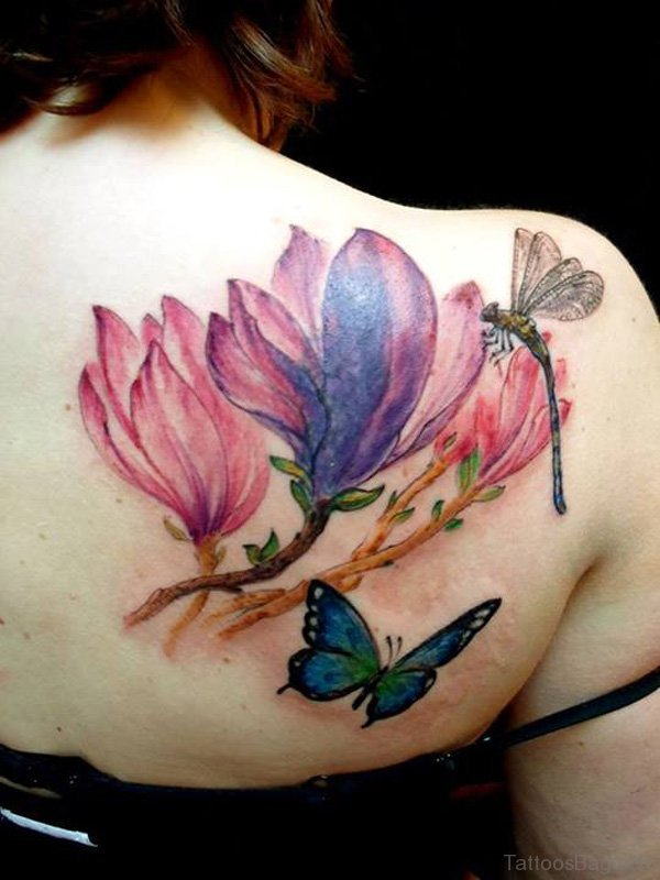 Outstanding Butterfly And Flower Shoulder Tattoo